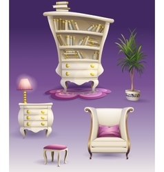 Set cartoon white bedroom furniture and cabinet vector image