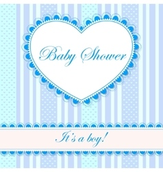 Baby shower with heart banner boy vector image vector image