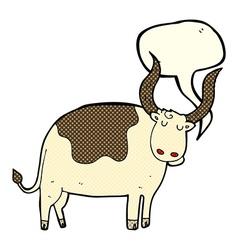 cartoon ox with speech bubble vector image vector image