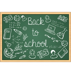 Education back to school icons over green vector image vector image