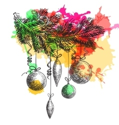 Hand drawn sketch Fur tree branch with New Year vector image