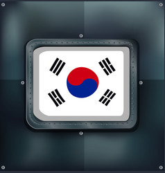south korea flag on metalic background vector image vector image