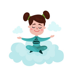 sweet brunette little girl sitting on a cloud and vector image