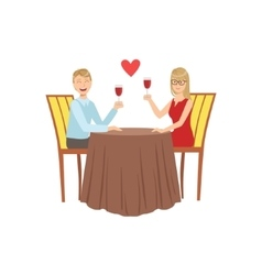 Couple In Love On The Date With Restaurant vector image vector image