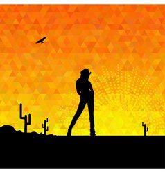 cowgirl silhouette vector image