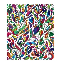 Doodle colorful rainbow floral hand draw pattern vector image vector image