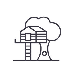 house on tree line icon sign vector image vector image