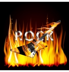 Rock guitar in flames vector image vector image
