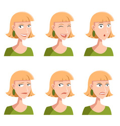set of woman face icons vector image