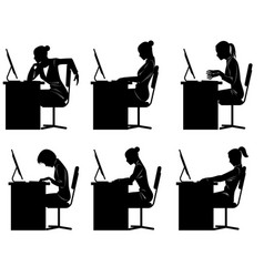 six businesswomen silhouettes vector image