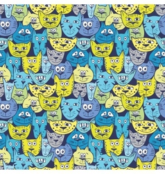 Sketch colorful cat pattern vector image