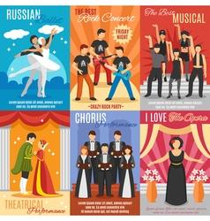 Flat theatre posters set vector
