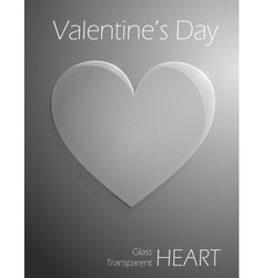 Valentines Day glass transparent heart vector image vector image