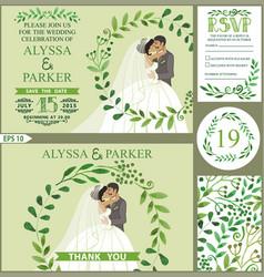 wedding invitationgreen branches wreath kissing vector image