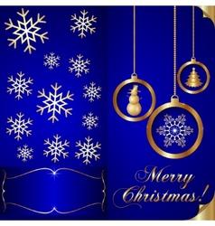 Abstart blue christmas invitation card vector