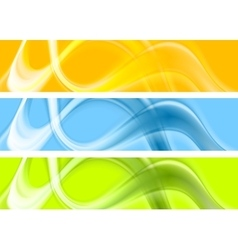 Abstract colorful wavy banners design vector