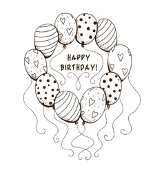 Air balloons frame with text for birthday party vector image