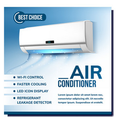 Air conditioner system advertising poster vector
