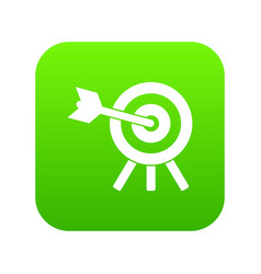 arrow hit the target icon digital green vector image