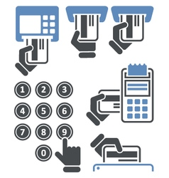ATM keypad and POS-Terminal - credit card payment vector image