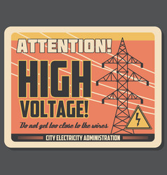 Attention retro banner for high voltage precaution vector