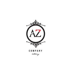 Az a z red white black decorative monogram vector