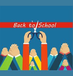 Back to school grand opening hands cutting red vector