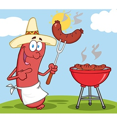 BBQ cooked sausage cartoon vector image