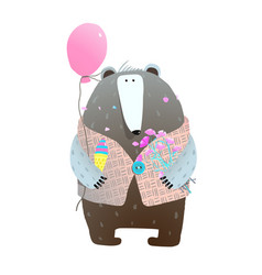 bear with ballon flowers and ice cream vector image