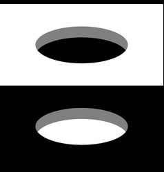 Black and white round holes on a surface 3d vector