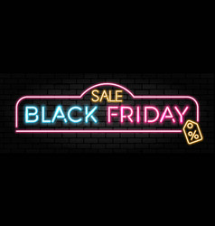black friday sale neon signboard vector image