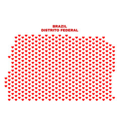 brazil distrito federal map - mosaic of valentine vector image