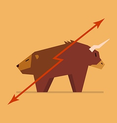 Bull and bear symbol of stock market vector