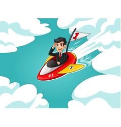 businessman in black suit riding a rocket vector image