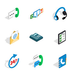 Call center icons isometric 3d style vector