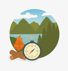 Camping zone scene with compass guide vector