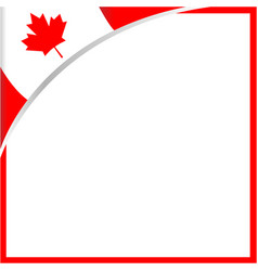 Canadian flag corner maple leaf frame vector