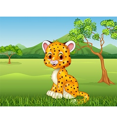 Cartoon funny baby cheetah in the jungle vector