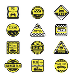 checkered taxi signs flat icons set vector image