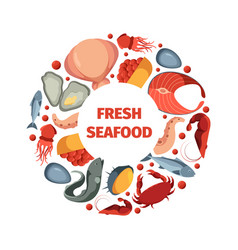 Circle shape from seafoods round design form vector
