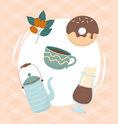 coffee time coffee mocha donut cup teapot seeds vector image
