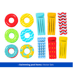 Collection of pool rafts and rubber rings vector