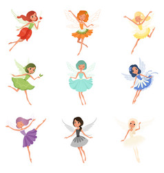 Colorful set of fairies in flying action little vector