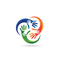 colorful social hand charity logo template symbol vector image