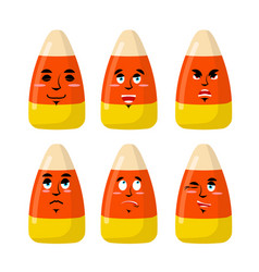 corn candy emotions sweets evil and good bonbon vector image
