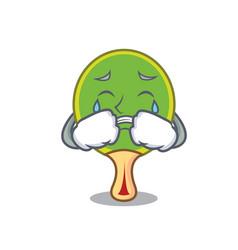 Crying ping pong racket mascot cartoon vector