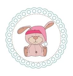 Cute animal with circular frame vector
