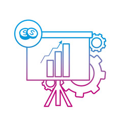 Degraded line statistics bar growing presentation vector