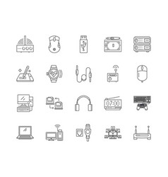 devices line icons signs set outline vector image