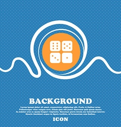 Dices icon sign Blue and white abstract background vector